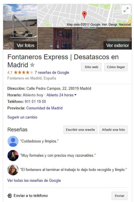 Fontanero urgente Madrid