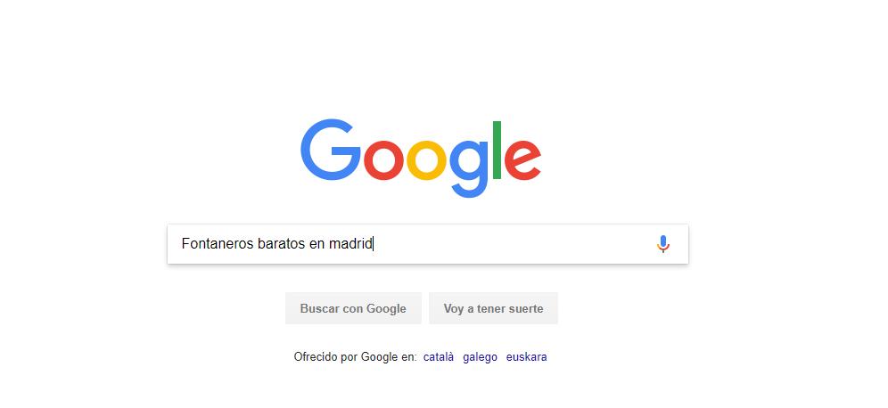 búsqueda en google de fontaneros